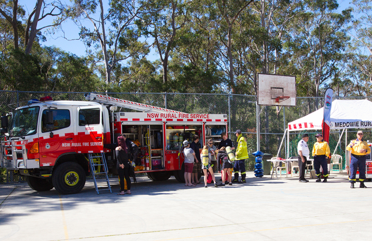 Medowie Rural Fire Service on hand to chat to residents about fire safety. Photo by Pete Neville