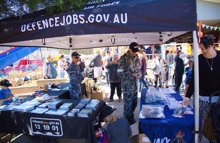 The defence careers tent. Photo by Pete Neville
