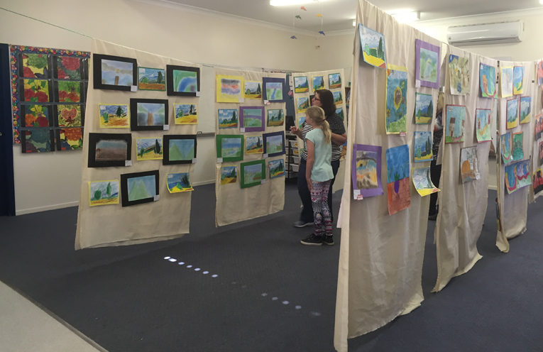 Student art was on display at the art show.
