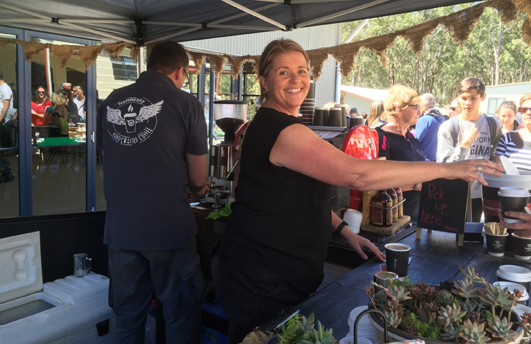 Service with a smile - Kylie Gurr from Hennessy Coffee.
