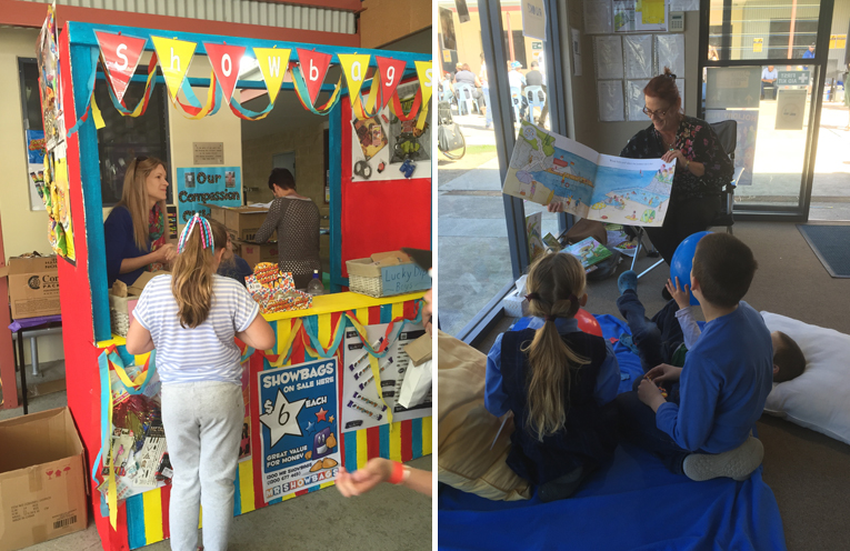 The show bags were a hit and sold out quickly. (left) Story time in a quiet spot was a hit with the children during the busy day. (right)