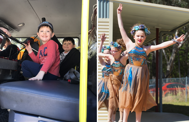 William and Rhiley Page learning about the inner workings of a NSW FIRE BRIGADE truck. (left)