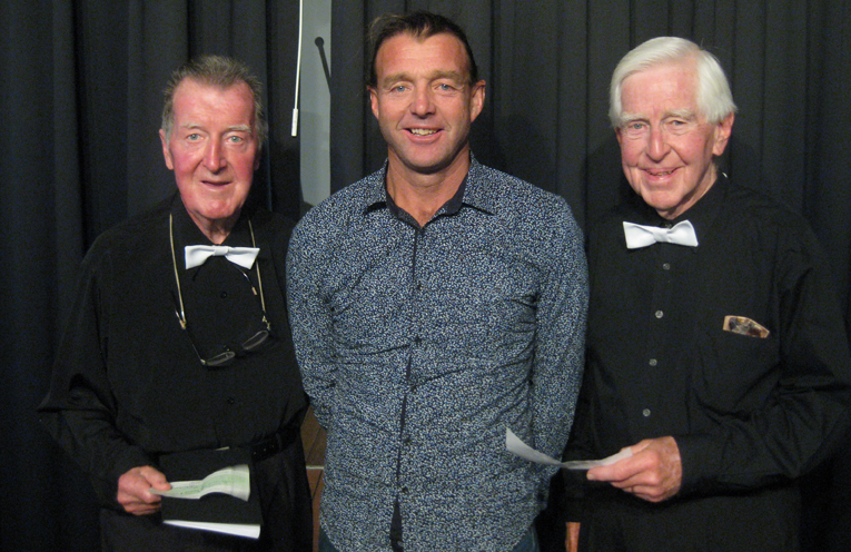 SURF CLUB DONATION: Rotary President Graeme Dunn, Surf Club President Steve Howell and Melodians' President Ray Hosking.