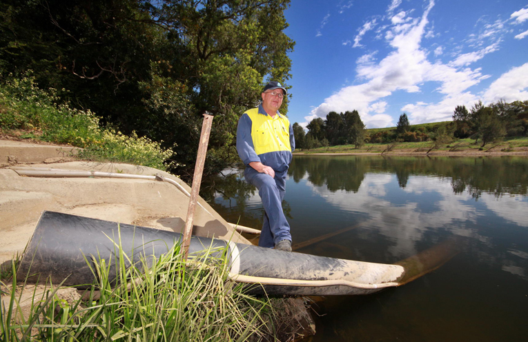 Manning Water Coordinator, Geoff Kerr at the intake from the Manning River.