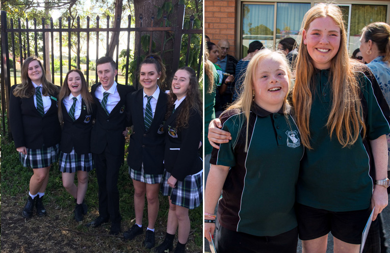 Monique D'Arcy ( CAPA Ambassador), School Captain Annabel Bisley, School Captain Lincoln Hunter, Vice Captain Dylan Hopper and Senior Student Leader Nikita Taylor.(left) Twins Renee and Stacy Binskin, graduating from Irrawang High School.(right)