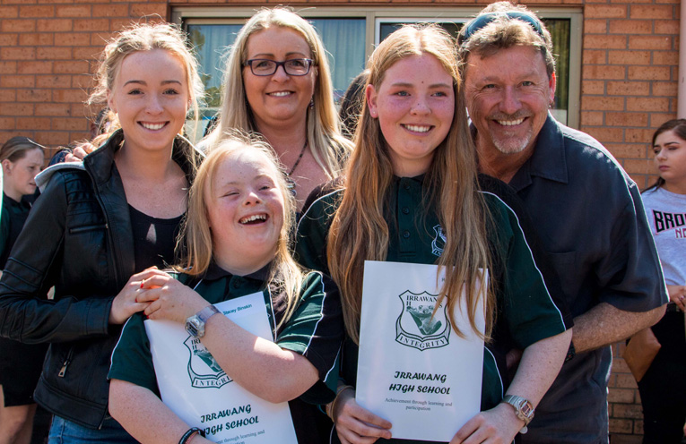Renee and Stacy Binskin made their family proud with the achievements and graduating year 12 at Irrawang High School. Here they are with their parents and sister, Tiana.