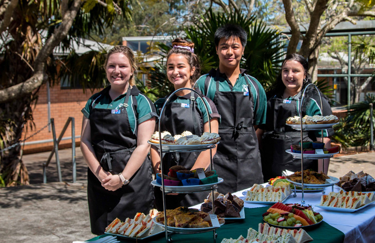 Irrawang High School's hard working students who cooked, prepared and served the food at graduation.