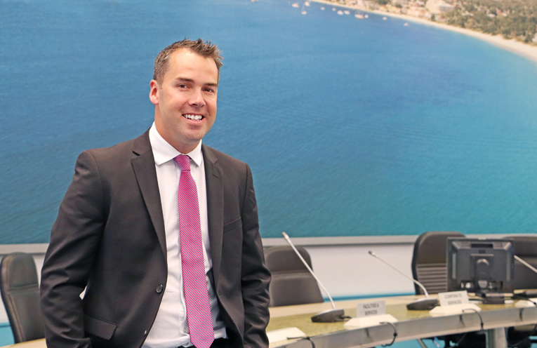 Port Stephens Mayor Ryan Palmer today at Council's administration building in Raymond Terrace