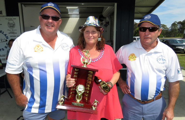 Steve Locke, Club Person of the Year Lisa Rose and Paul Kiem, who started the soccer club in 1988.
