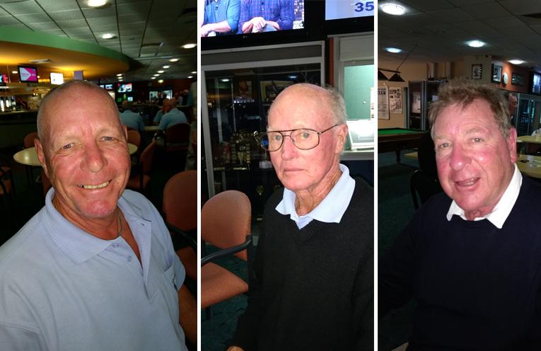 2017 Champion Bruce Clayton.(left) 80 Years Champion Lyle Hudson. (center) B Grade winner Graham Benson. (right)