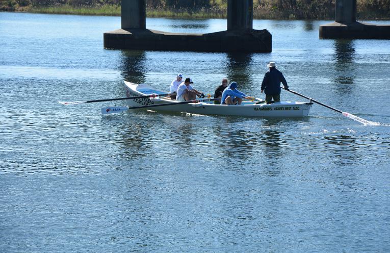 AUSTRALIAN RIVER ROWERS EVENT: Tea Gardens/Hawks Nest crew rowing the Macleay River.