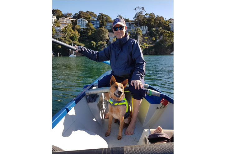 AUSTRALIAN RIVER ROWERS EVENT: Grant Palmer with mascot dog 'Weary' .