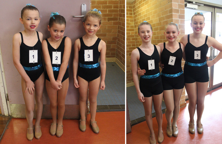 Pre-Test 1 – Olivia Adams, Katherine Sautchuk & Lily Cuthbertson (first ever tap exam). (left) Silver Medal – Isabella McQualter, Heidi Farley and Olivia Lightfoot.(right)