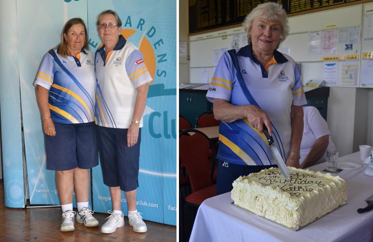 "Ingrid Luck, Minor Singles Runner Up and Elizabeth Kelly winner Minor Singles 2017. (left) Kathie Rimmer ""cutting the cake"".(right)"