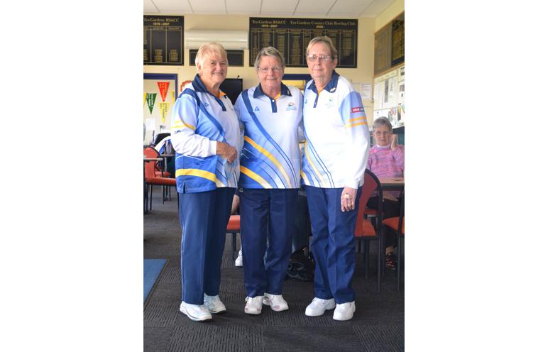 Winners 2017 Club Championship Triples: Bev Rhodes, Wendy Brand and Elizabeth Kelly.