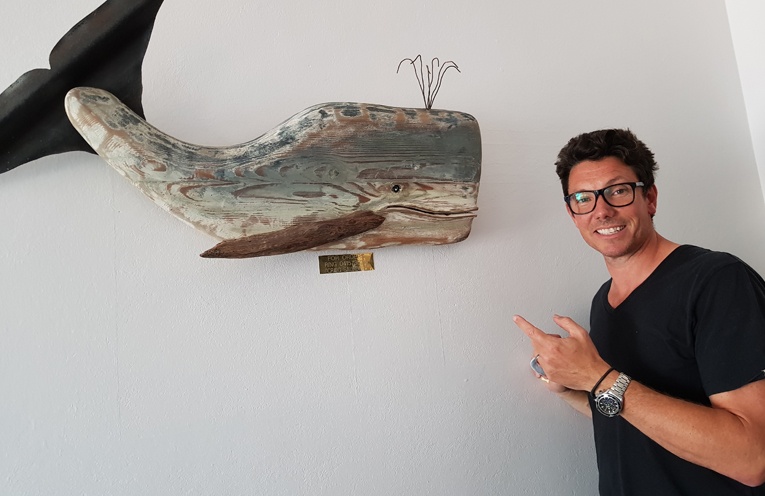 NEW LOOK FOR TEA GARDENS HOTEL: Owner Ben Hanson and his whale.