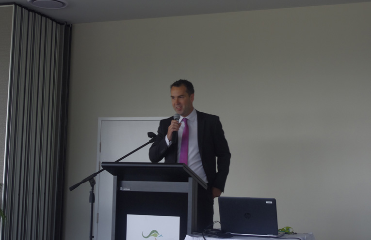 Mayor Ryan Palmer speaking at the Bay Business Breakfast where he announced that he would step down from the Tomaree Business Chamber Presidency. Photo by Marian Sampson