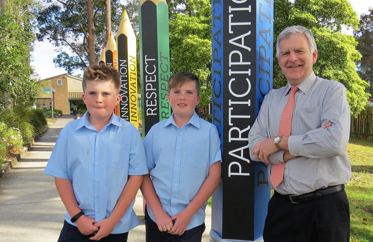 Primary Captains Kurtis and Toby Barry farewell Mr Hudson.