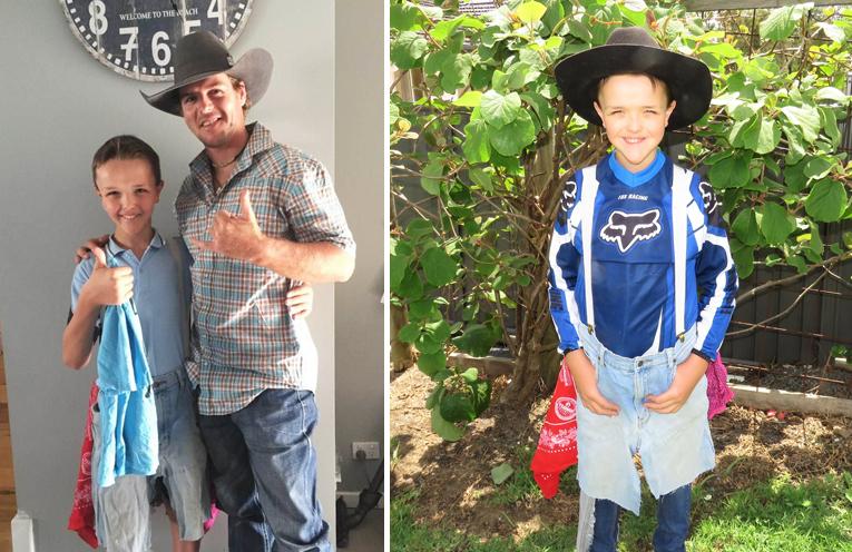 Pro bull rider David Mason with Frankie Roberts. Photo: Michaela Mason (left) Frankie Roberts hopes to train as a rodeo clown. (right)