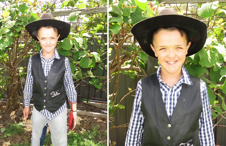Frankie Roberts ready for his first ride. (left) Frankie Roberts is passionate about bull riding. (right)