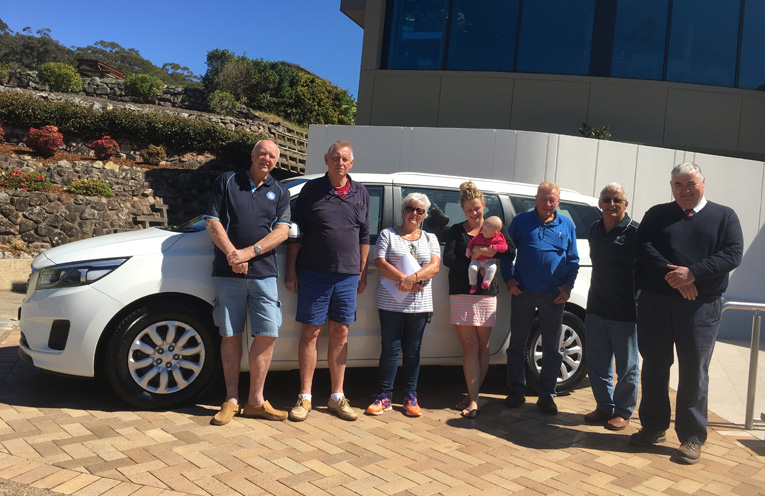 Con Moores, Russ Crompton, Julie Burns (The Sporting Hope Committee), Kasie Sargeant, (Mother), Barry Gamer (Salamander Bay Car Sales), Allan Barnes (President Nelson Bay Bowling Club) and Dean McCarthy (CEO Nelson Bay Bowling Club).
