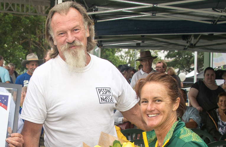 Port Stephens Medal winner David Sams with Australia Day Ambassador, Liesl Tesch.
