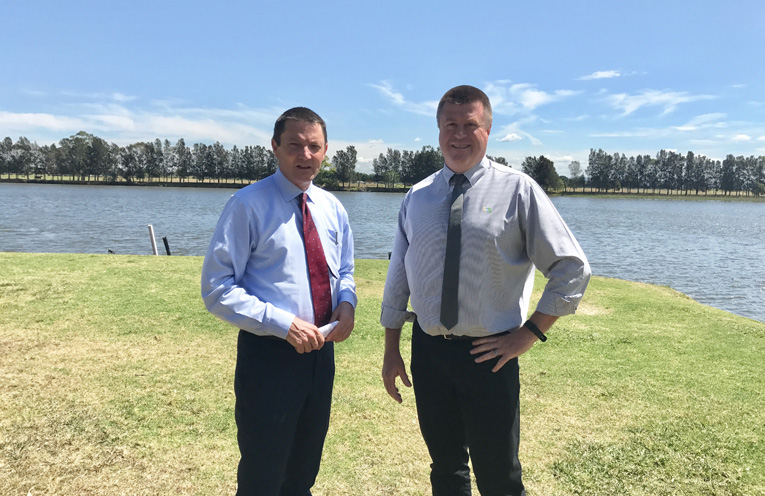 Parliamentary Secretary for the Hunter Scot MacDonald MLC onsite at Riverside Park, Raymond Terrace with Acting General Manager Port Stephens Council Greg Kable.