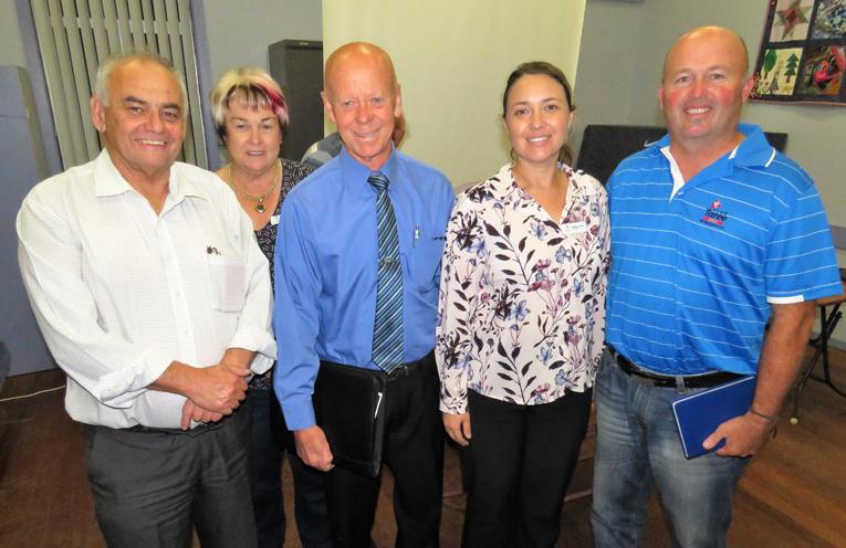 Councillors Len Roberts, Karen Hutchinson, David West, Katheryn Smith and Brad Christensen at the Bulahdelah community meeting.