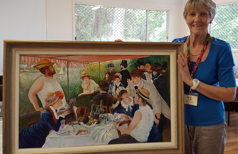 """Nikki Waters with her Fabulous Fake """"Luncheon Of The Boating Party"""" (After Pierre-Auguste Renoir 1880-1881)."""