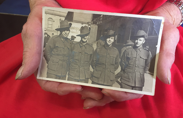 Taken coming out of central station in Sydney – Walter Richardson, Richard Grimshaw and Abraham Petty – all killed in action, best mates immortalised.