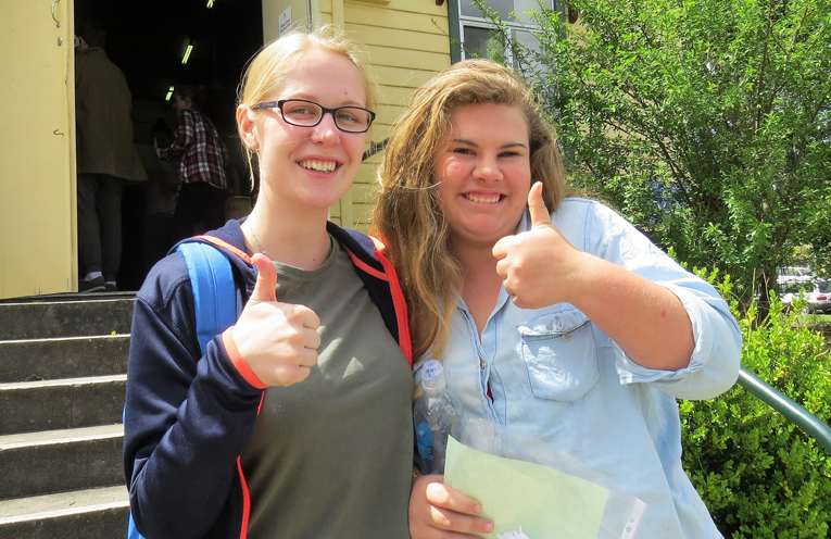 All Smiles: Kaitlyn Gregory and Katie Nolan after finishing the HSC English exam.