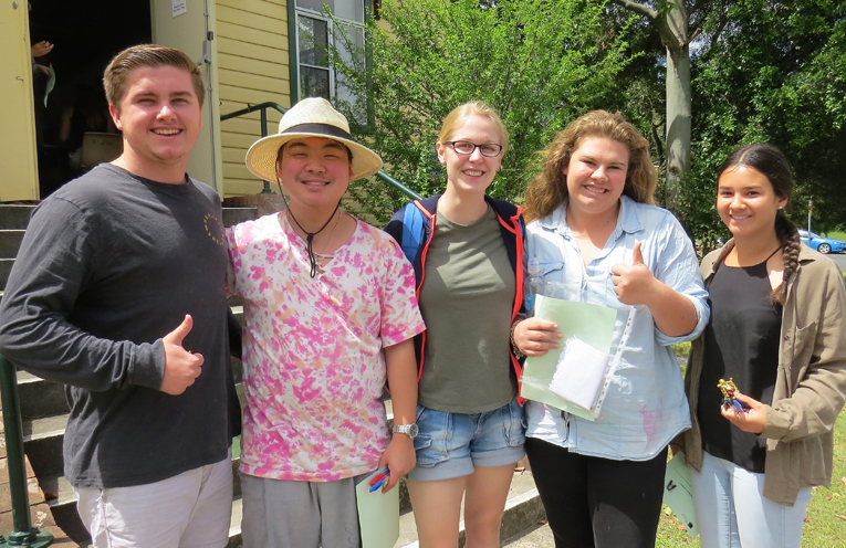 Relieved: Bailey Shultz, Tim To, Kaitlyn Gregory, Katie Nolan and Marley Mezi after the HSC English exam.