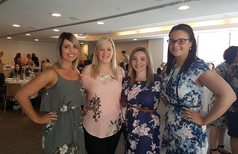 Amy Lochhead, Sheridan Hicks, Carlee Harper and Jessica Bakes attending the high tea for Maggie.