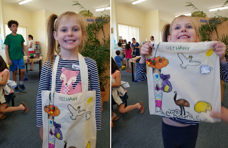 TEA GARDENS LIBRARY: Bethany shows off her handmade library bag.