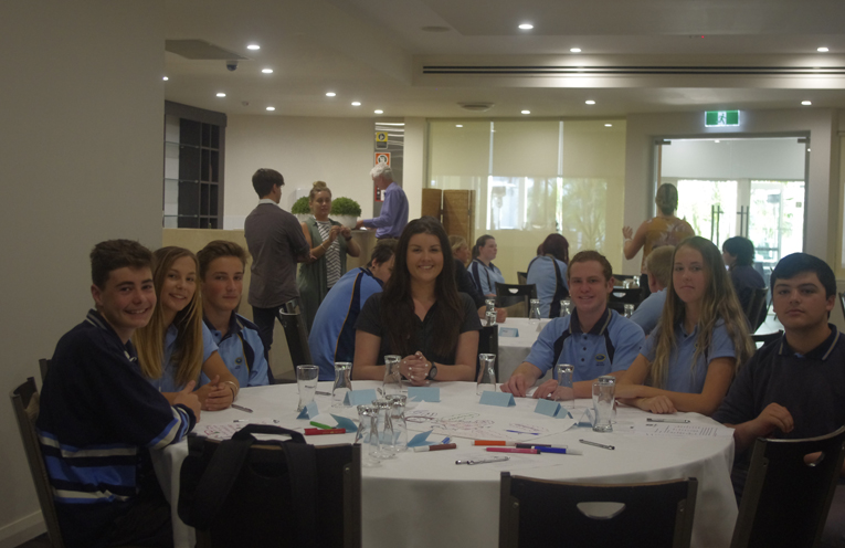 Council's Brooke Tisdell with Tomaree High School student participants at the group assessment workshops.