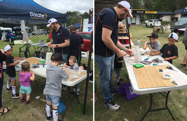 Children joined Chris Baguley from Greater Bank to create their handmade lanterns. (left) Lots of creative lantern making took place at the Medowie markets. (right)