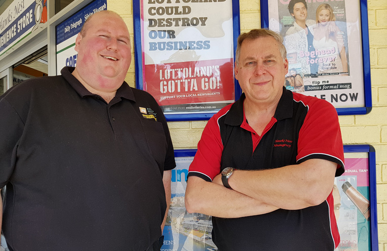 LOTTOLAND PROTEST: Newsagents Association's Adam Joy and Hugo Elstermann.