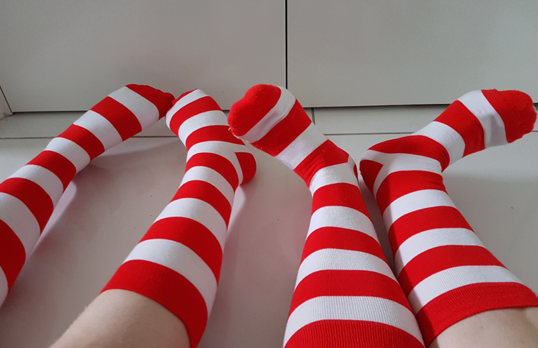 Funky Ronald McDonald socks. Photo by Sarah Stokes