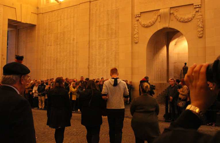 Annie McDonald, Jordan Kolarik, Mikahlia Holmes and Vivienne Hockridge laying the wreath during the ceremony at Menin Gate.