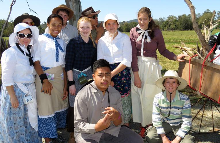 Teens dressed in pioneer clothing for the Bulahdelah handcart trek.