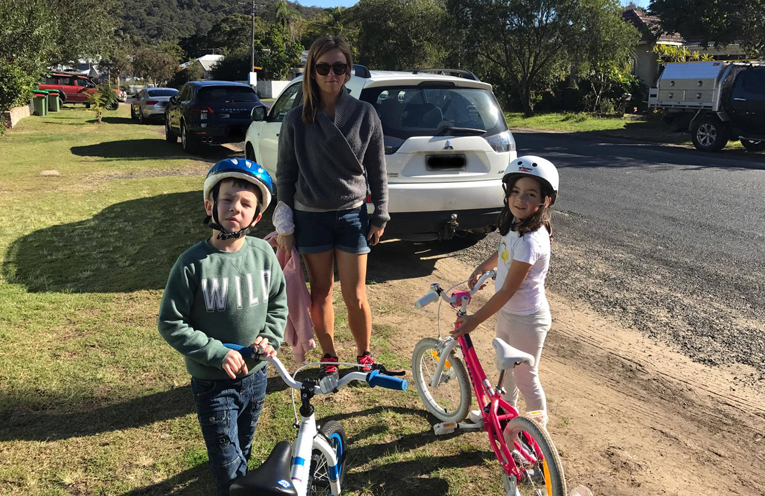 "The family ready for a bike ride on the ""safe"" cycleway."