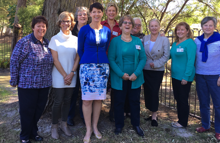 The Port Stephens Palliative Care team with Port Stephens MP Kate Washington: Rosemary Toscano, Marilyn Mitchell, Carol Farrow, Kate Washington, Alison Bowman, Vicki Collister, Barbara Arathoon, Jan Miller, Debbie Childs, and Jo Buckland-Jones.