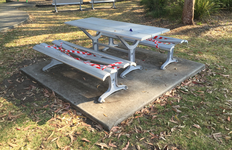 Just one of the benches destroyed at the park adjacent to Medowie Community Hall.