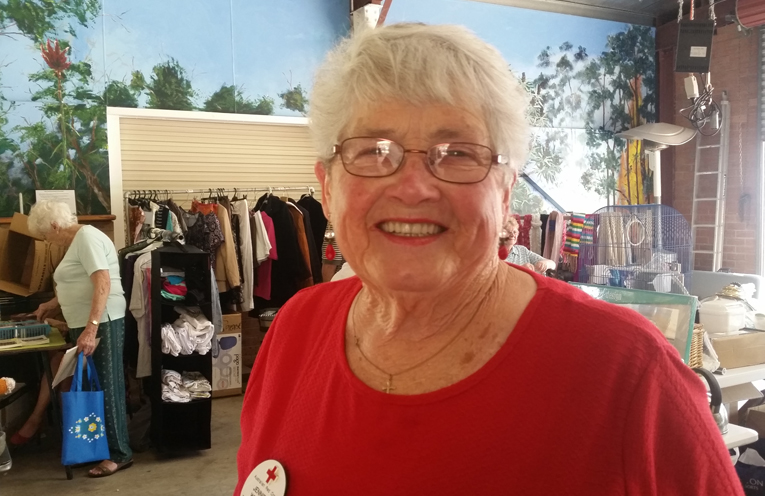 RED CROSS STALL: Jennifer Wenham.
