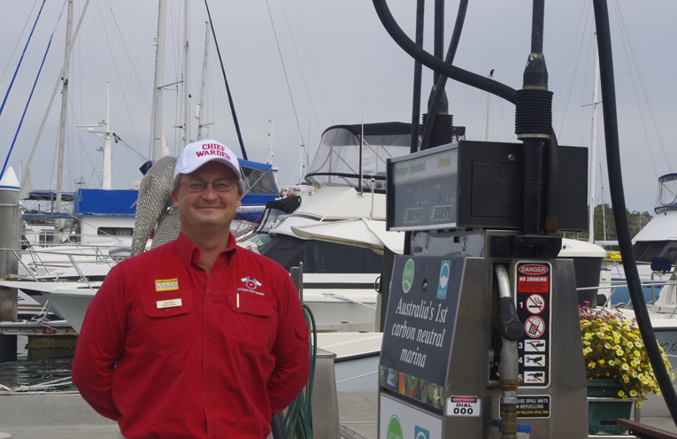 Darrell Barnett of Soldier Point Marina performing tasks as Chief Warden during Safe Work Month at Soldiers Point Marina. Photo by Marian Sampson