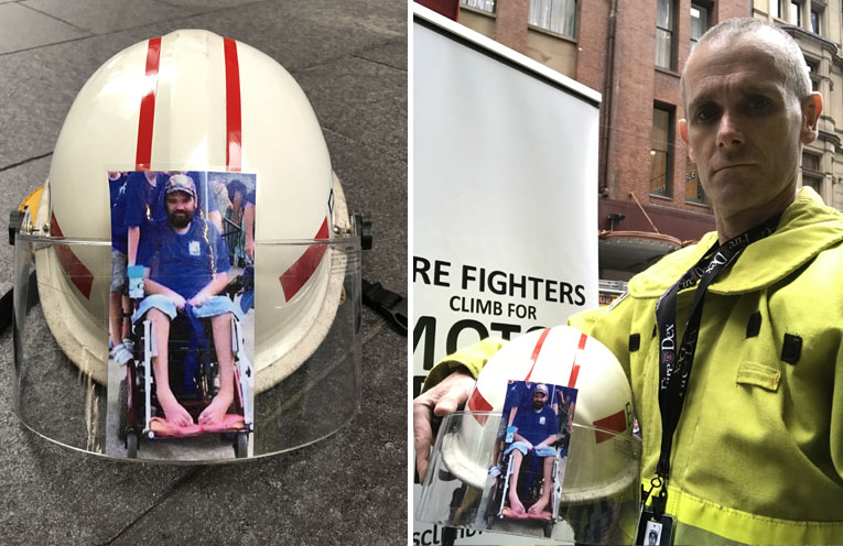 Darryl Luck with his Helmet, displaying the photo of Brenton Teasdale. (left) Brenton Teasdale, who lost his fight to MND one year ago. (right)
