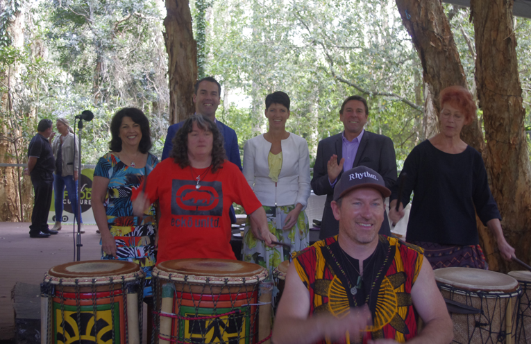 Benji Marshall of Earthen Rhythms and two of the local drummers at an African Drumming Circle at the Opening of the Wellness Centre with Cherie McDougall, Port Stephens Mayor Ryan Palmer, Member for Port Stephens Kate Washington and Mark McDougall.