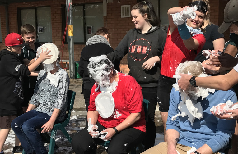 A pie in the face for some well loved teachers.