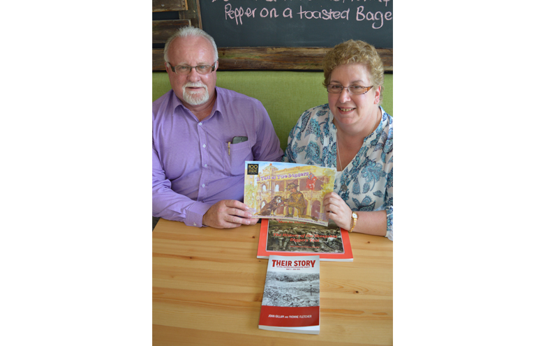 Authors John Gillam and Yvonne Fletcher with an assortment of their previously published books.