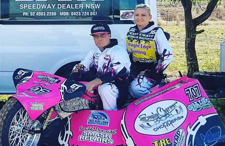 SPEEDCAR RACERS: Clarissa Mitchell and Stephen Saunders.